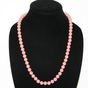 "Beautiful vintage rose blush beaded necklace 24"""